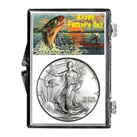 1993 $1 AMERICAN SILVER EAGLE SNAPLOCK HOLDER - FATHER'S DAY FISHING DESIGN
