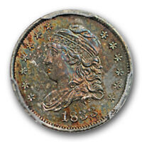 1833 H10C CAPPED BUST HALF DIME PCGS MS 64 UNCIRCULATED COLORFUL TONED