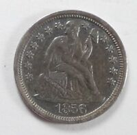 1856 LARGE DATE SEATED LIBERTY DIME EXTRA FINE SILVER 10C