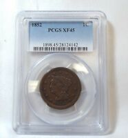 1852 BRAIDED HAIR LARGE CENT CERTIFIED PCGS EXTRA FINE  45 1C