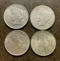 FOUR  4  PEACE SILVER $1 DOLLAR COINS   LOT   NO RESERVE