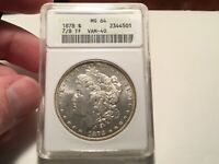 1878 7/8TF VAM 40 MINT STATE 64 ANACS STRONG SUPER  VARIETY MORGAN SILVER DOLLAR WOW