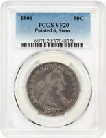1806 50C PCGS VF20 POINTED 6, STEMS GREAT TYPE COIN - BUST HALF DOLLAR