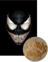 2020 24K GILDED SILVER VENOM MARVEL COMICS EDITION 1OZ .999 TUVALU COIN
