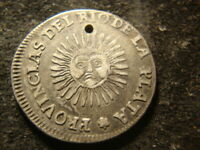 1826 HOLED LA RIOJA ARGENTINA SUNFACE SILVER TWO 2 SOLES D2X