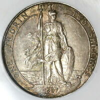 1907 NGC XF 40 FLORIN EDWARD VII GREAT BRITAIN SILVER 2 SHILLING COIN  20021604C