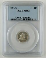 1871 S SEATED LIBERTY SILVER HALF DIME PCGS MS62 BU COIN A95