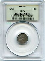 C12436- 1863 PROOF SEATED LIBERTY HALF DIME PCGS PR64 OGH - 460 MINTED