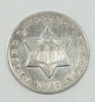 BARGAIN 1851-O SILVER THREE-CENT PIECE ALMOST UNCIRCULATED 3C TRIME