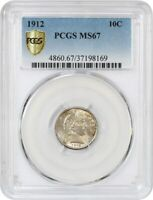 1912 10C PCGS MINT STATE 67 - COLORFUL TONING - BARBER DIME - FROSTY GEM