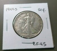 1944-S LIBERTY WALKING HALF DOLLAR EXTRA FINE 45