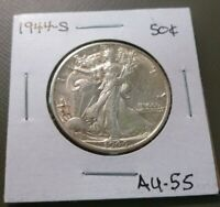 1944-S LIBERTY WALKING HALF DOLLAR ABOUT UNCIRCULATED 55