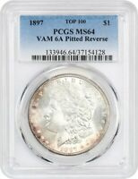 1897 $1 PCGS MINT STATE 64 VAM 6A PITTED REVERSE - MORGAN SILVER DOLLAR