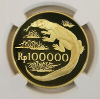NGC PF69UC 1974 INDONESIA 100KR GOLD TOP GRADE LOW MINTAGE PROOF