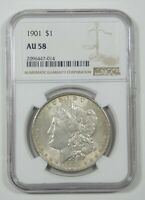 1901 MORGAN DOLLAR CERTIFIED NGC AU 58 SILVER DOLLAR - LOVELY PASTEL REV TONE