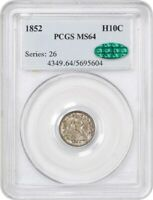 1852 H10C PCGS/CAC MINT STATE 64 - SEATED HALF DIME
