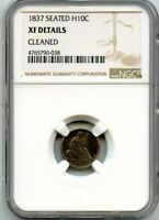 C12529- 1837 NO STARS SEATED LIBERTY HALF DIME NGC EXTRA FINE  DETAILS