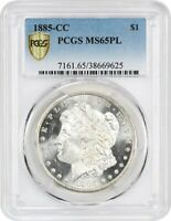 1885-CC $1 PCGS MINT STATE 65 PL -  CARSON CITY PROOFLIKE - MORGAN SILVER DOLLAR