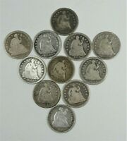 LOT X 11 DIFFERENT DATE SEATED SILVER HALF DIMES GOOD OR BETTER  1839 - 1872
