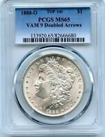 C8553- 1888-O VAM-9 DOUBLED ARROWS TOP 100 MORGAN DOLLAR PCGS MINT STATE 65
