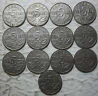 CANADA 1922 1936 5 CENTS SET OF 13 DIFFERENT COINS CIRCULATED