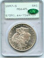 C12117- 1897-S MORGAN DOLLAR PCGS MINT STATE 64 PL CAC RATTLER OGH