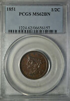 1851 BRAIDED HAIR HALF CENT, PCGS MINT STATE 62 BN