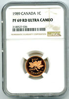1989 CANADA CENT NGC PF69 RD PROOF PENNY LY  POP ONLY 11