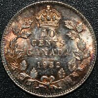 1932 CANADA 10 CENTS SILVER COIN