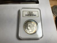 1888 MORGAN SILVER DOLLAR, NGC CERTIFIED MINT STATE 63. TONED. VAM 4 HOT 50 MORGAN