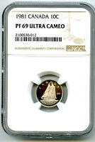 1981 CANADA PROOF 10 CENT NGC PF69 ULTRA CAMEO DIME SUPER