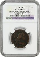 1794 1C NGC VF DETAILS HEAD OF 1795, ENVIRONMENTAL DAMAGE - LARGE CENT
