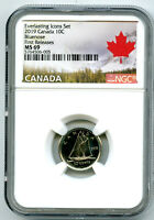 2019 CANADA 10 CENT EVERLASTING ICONS DIME NGC MS69 FIRST RE