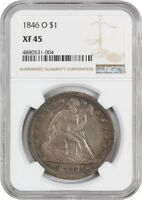 1846-O $1 NGC EXTRA FINE 45 - POPULAR NEW ORLEANS ISSUE - LIBERTY SEATED DOLLAR