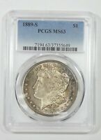 1889-S MORGAN DOLLAR CERTIFIED PCGS MINT STATE 63 SILVER DOLLAR
