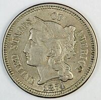 1874 UNITED STATES THREE-CENT NICKEL - CH-AU CHOICE ABOUT UNCIRCULATED CONDITION