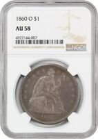 1860-O $1 NGC AU58 - POPULAR NEW ORLEANS MINT - LIBERTY SEATED DOLLAR