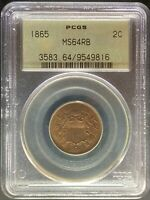 1865 2 CENT PIECE - PCGS MINT STATE 64RB