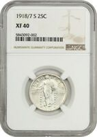 1918/7-S 25C NGC EXTRA FINE 40 - POPULAR AND  OVERDATE - STANDING LIBERTY QUARTER