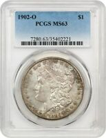 1902-O $1 PCGS MINT STATE 63 - COLORFUL TONING - MORGAN SILVER DOLLAR