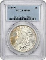 1884-O $1 PCGS MINT STATE 64 - COLORFUL TONING - MORGAN SILVER DOLLAR - COLORFUL TONING
