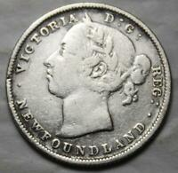 NEWFOUNDLAND 1882H SILVER 20 CENTS OLD DATE QUEEN VICTORIA