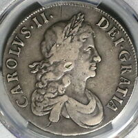1668 PCGS VF DET CHARLES II CROWN ENGLAND GREAT BRITAIN SILVER COIN  20041302C