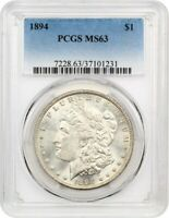 1894 $1 PCGS MINT STATE 63 - KEY DATE - MORGAN SILVER DOLLAR - KEY DATE