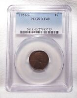 1931-S LINCOLN/WHEAT EARS REVERSE CENT CERTIFIED PCGS EXTRA FINE  40 1C