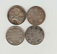 4 CANADA SILVER TWENTY FIVE CENTS 1910 1928 1934 AND 1948