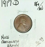 1917-D LINCOLN WHEAT CENT  EXTRA FINE /AU  CHOCOLATE BROWN COIN