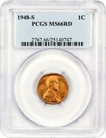 1948-S 1C PCGS MINT STATE 66 RD - LINCOLN CENT