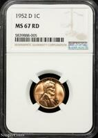 1952-D LINCOLN WHEAT CENT CENT  NGC MINT STATE 67 RD RED  BZ-888-005