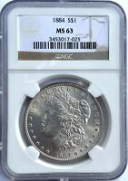 1884 P $1 MORGAN SILVER DOLLAR PCGS MINT STATE 63 WHITE SOLID FOR GRADE